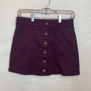 Purple Forever 21 Button Up Skirt